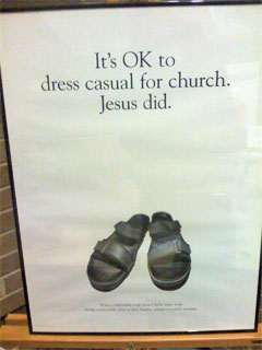 Poster showing that casual dress is OK